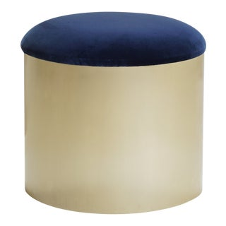 "Brushed Brass ""Mushroom"" Pouf in Velvet by Montage For Sale"