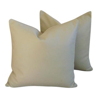"Premium Italian Leather/Linen Feather/Down Pillows 20"" Square - Pair For Sale"