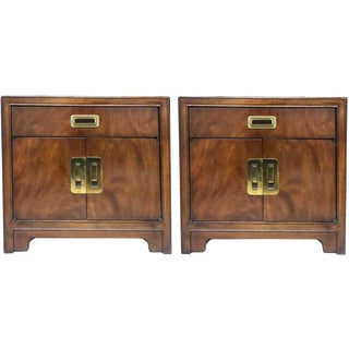 1970s Campaign Drexel Heritage Dynasty Collection Nightstands - a Pair For Sale