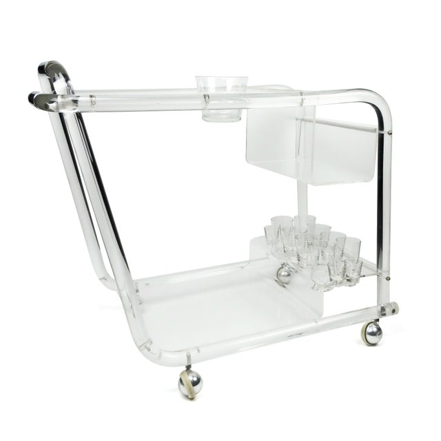 1970s Lucite & Chrome Bar Cart For Sale - Image 5 of 8