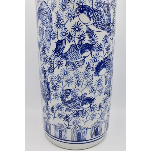 Blue Vintage Blue and White Chinese Porcelain Umbrella Stand For Sale - Image 8 of 13