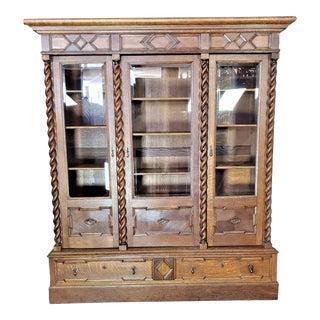 Antique Oak Barley Twist Large Bookcase Display China Cabinet Bookcase Restored For Sale