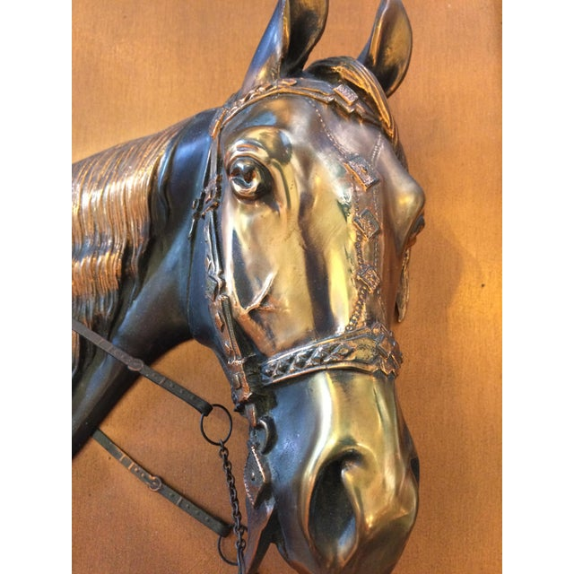 Country Vintage Framed Copper Equestrian Horse Head in Relief For Sale - Image 3 of 10