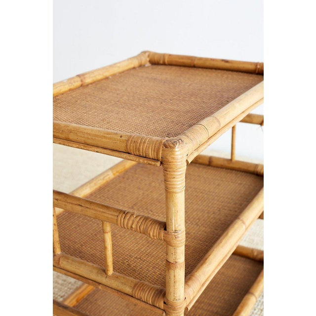 Bamboo Bamboo and Raffia Rolling Three-Tier Serving Cart For Sale - Image 7 of 13