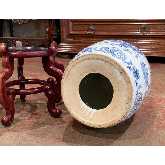 Wood Mid-20th Century Chinese Porcelain Garden Stool on Carved Stand For Sale - Image 7 of 8