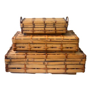 Antique Japanese Bamboo Stacking Baskets 3 Set For Sale