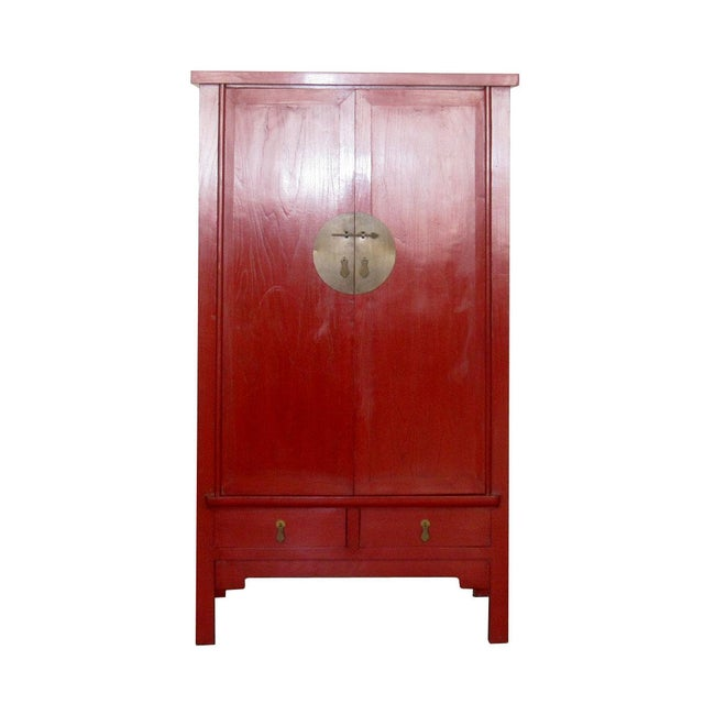 Chinese Ming-Style Red Lacquer Cabinet Armoire - Image 3 of 8