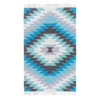 Jaipur Living Mojave Indoor/ Outdoor Geometric Aqua/ Gray Area Rug - 5′ × 8′ For Sale