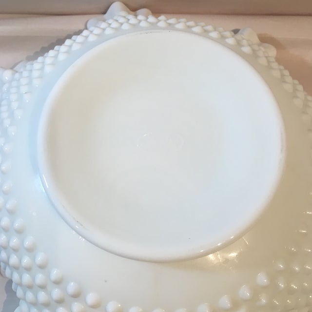 Glass Fenton Hobnail Milk Glass Crimped Bowls - Set of 3 For Sale - Image 7 of 9