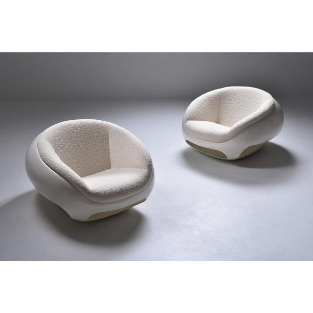 1960s 1960s Mario Sabot Sculptural Fiberglass Lounge Chairs in Bouclé - a Pair For Sale - Image 5 of 12