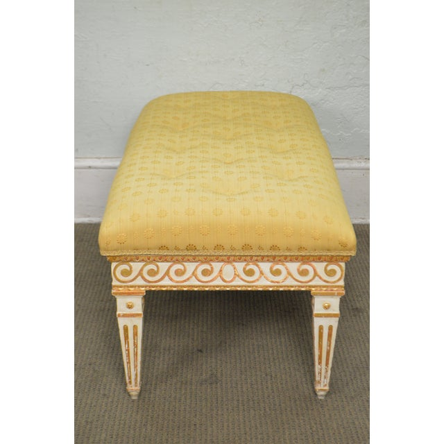 Hollywood Regency Vintage Regency Style Gilt Painted Wood Tufted Window Bench For Sale - Image 3 of 10