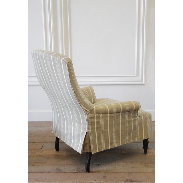Napoleon Style Linen Stripe Slip Cover Chair and Ottoman For Sale - Image 9 of 12