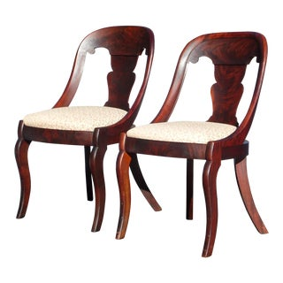 Antique Pair French Empire Gondola Flame Mahogany Slipper Dining Chairs C.1830's For Sale