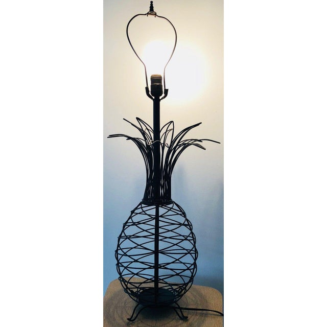 1950s Vintage Ferris Shacknove Black Wire Pineapple Lamp For Sale - Image 9 of 9