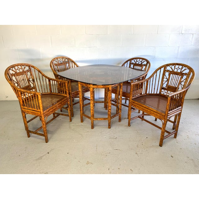 Brighton Pavilion Rattan Dining Set 4 Chairs and Table - Set of 5 For Sale - Image 10 of 10