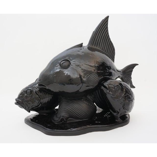 Art Deco 1930s Lejan Style Sculpture School of Fish in Black Ceramic For Sale - Image 12 of 12