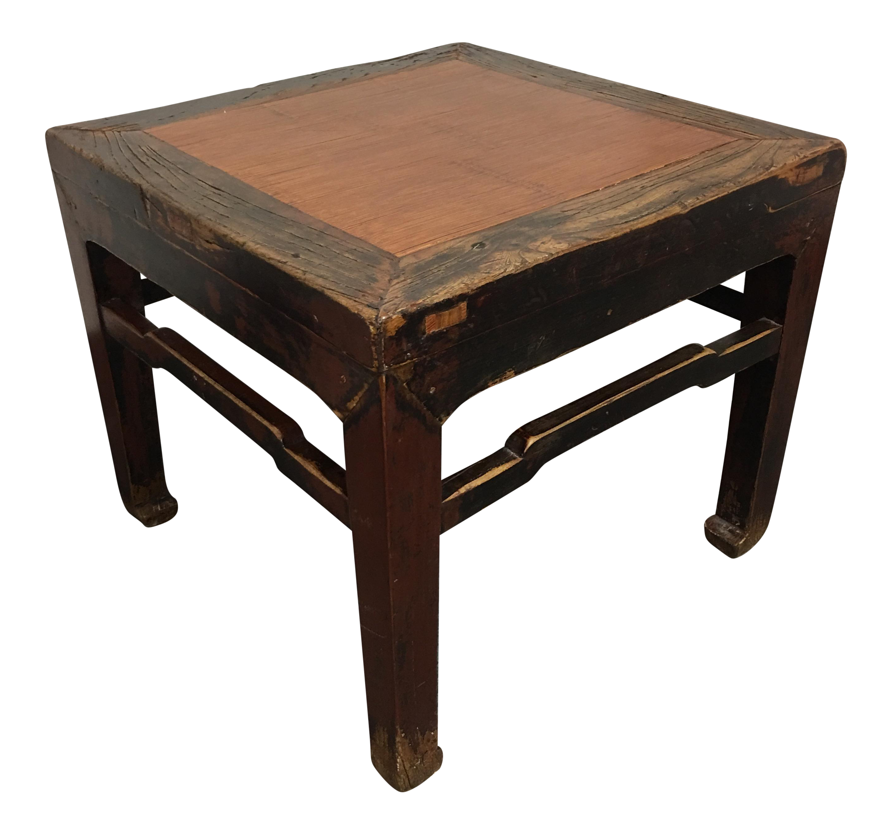 Antique Asian Bamboo U0026 Wood Side Table
