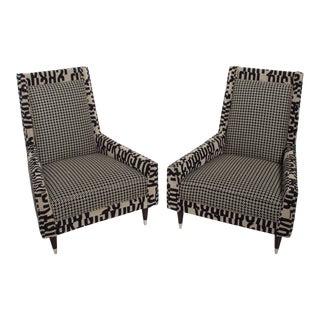 Gio Ponti Style by Arturo Pani Wild Wingback Lounge Chairs Midcentury Pair 1969 For Sale