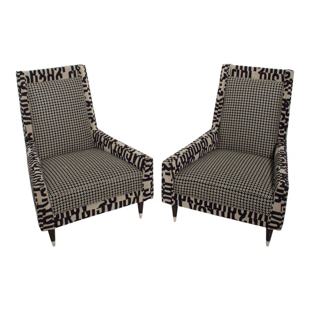 Gio Ponti Style by Arturo Pani Wild Wingback Lounge Chairs Midcentury Pair 1969 For Sale