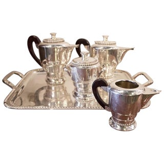 Early 19th Century Antique French Art Deco Silvered Tea and Coffee Set - 5 Pieces For Sale