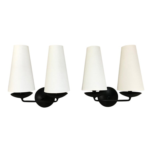 Aerin Fontaine Double Sconces With Shades - a Pair For Sale