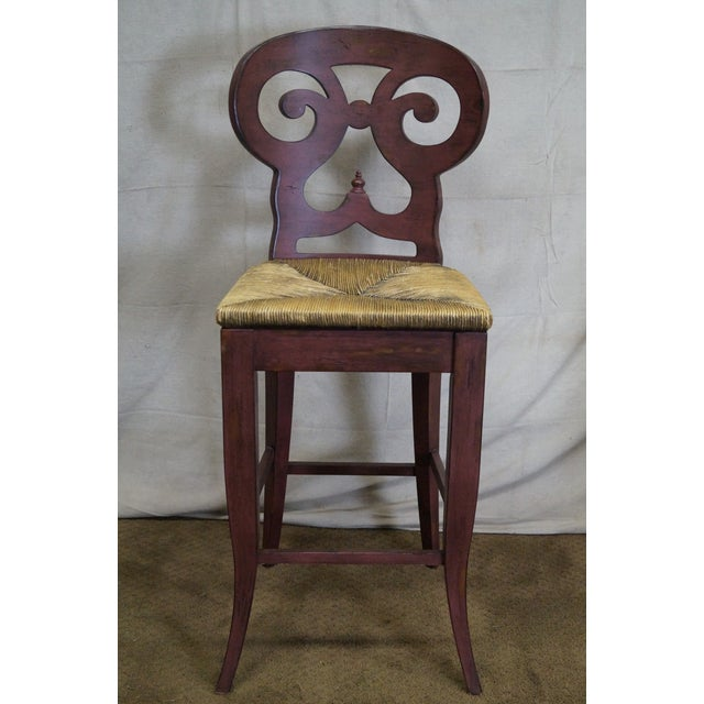 Rush Biedermeier Style Counter Bar Stools - a Pair For Sale - Image 7 of 10