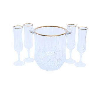 Cut Glass Champagne Bucket & 4 Champagne Flutes For Sale