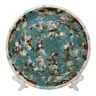Gene Lodi Splatter Crackle California Art Pottery Plate #349 Turquoise
