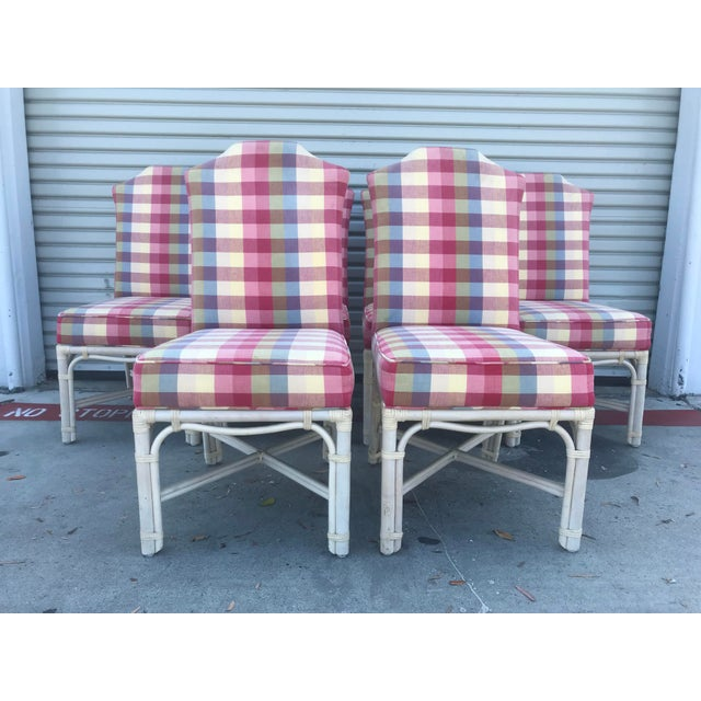 Ficks Reed Vintage Rattan Leather Wrapped Upholstered Dining Chairs - Set of 6 For Sale In San Diego - Image 6 of 13