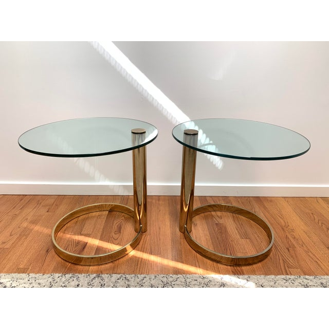 1980s Contemporary Pace Brass and Glass Round Drinks Tables - a Pair For Sale - Image 13 of 13
