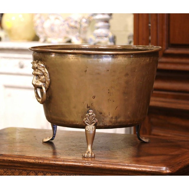 19th Century French Brass Cache-Pot Planter With Lion Head Handles For Sale - Image 4 of 9