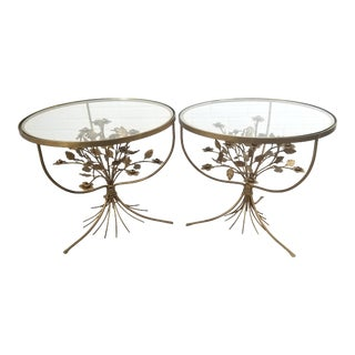 Mid 20th Century Italian Gold Tole Hollywood Regency Floral Bouquet Side Table- a Pair For Sale