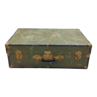 Vintage Green Metal Suitcase For Sale