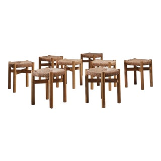 Charlotte Perriand Set of Eight Oak and Rush Méribel Stools, France, circa 1950 For Sale
