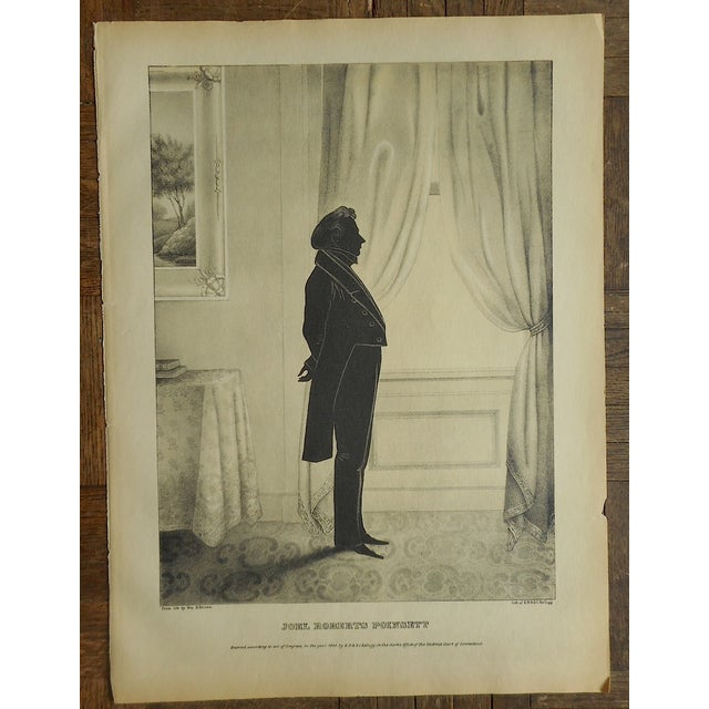 This antique 19th century stone lithograph depicts the silhouette of a distinguished American citizen. A great minimal...