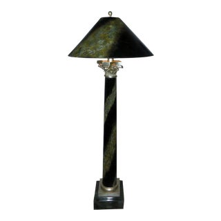 Maitland Smith Marble & Faux Marble Floor Lamp With Painted Shade For Sale