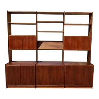 Vintage Mid Century Modern Modular Solid Walnut Wall Unit Bookcase Made in Norway
