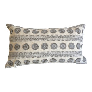 Embroidered Lumbar Pillow Cover: Grey on Natural Linen For Sale