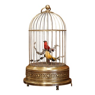 19th Century French Automaton Brass Cage With Two Singing Birds For Sale