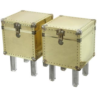 1970s Mid-Century Modern Brass Trunk End Tables - a Pair For Sale