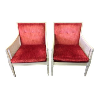 1960s Hollywood Regency Stried Silk Velvet Caned Arm Chairs - a Pair For Sale