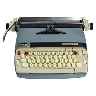 1960s Blue Smith-Corona Typewriter For Sale