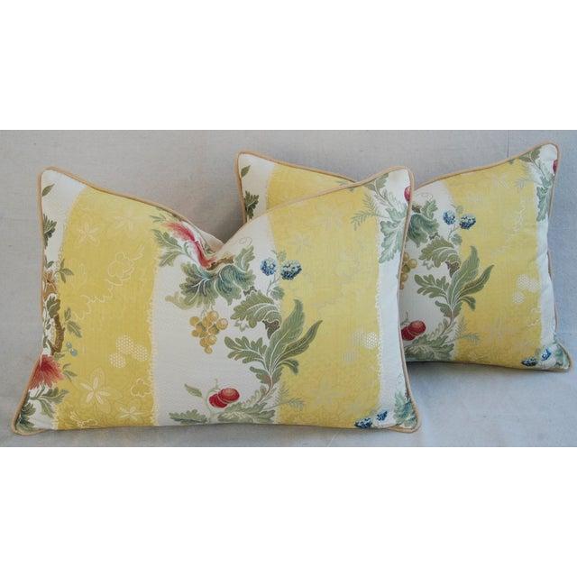 "26"" X 18"" Designer Scalamandre Silk Lampas Feather/Down Pillows - Pair - Image 6 of 10"