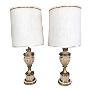 "Vintage Stiffel 37"" Brass/Enamel Lamps W Original Shades - a Pair"