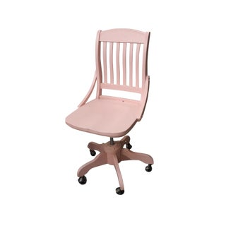 Vintage Pink Wooden Office Chair