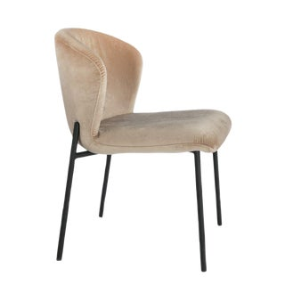 Contemporary J Jamie Statements Latte Velvet Dining Chair For Sale