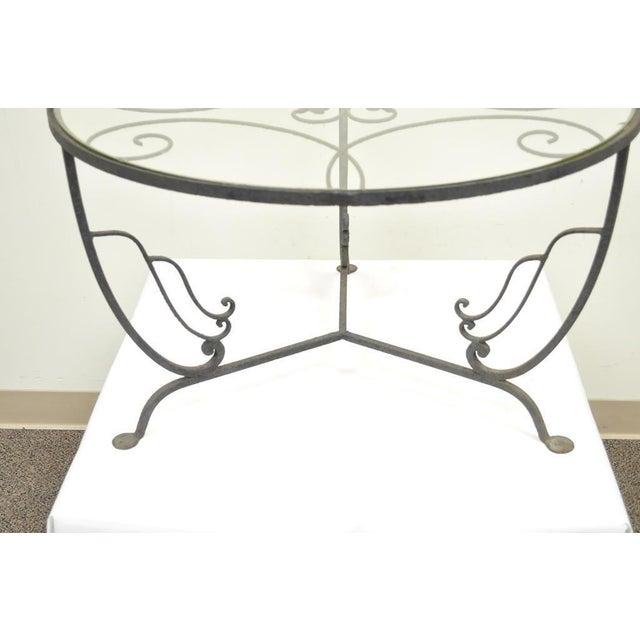 Salterini Vintage Salterini Wrought Iron Art Nouveau Deco Patio Garden Round Coffee Table For Sale - Image 4 of 10