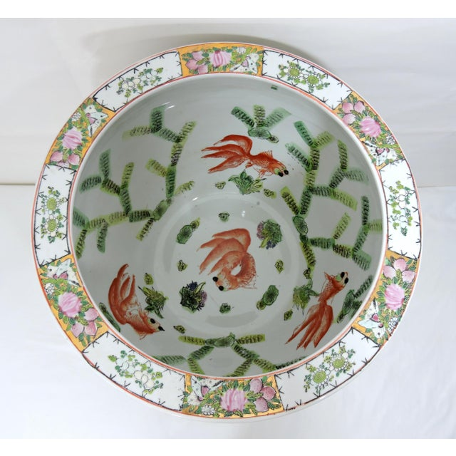 Mid 20th Century Mid 20th Century Rose Mandarin Goldfish Bowl Planter and Stand For Sale - Image 5 of 8