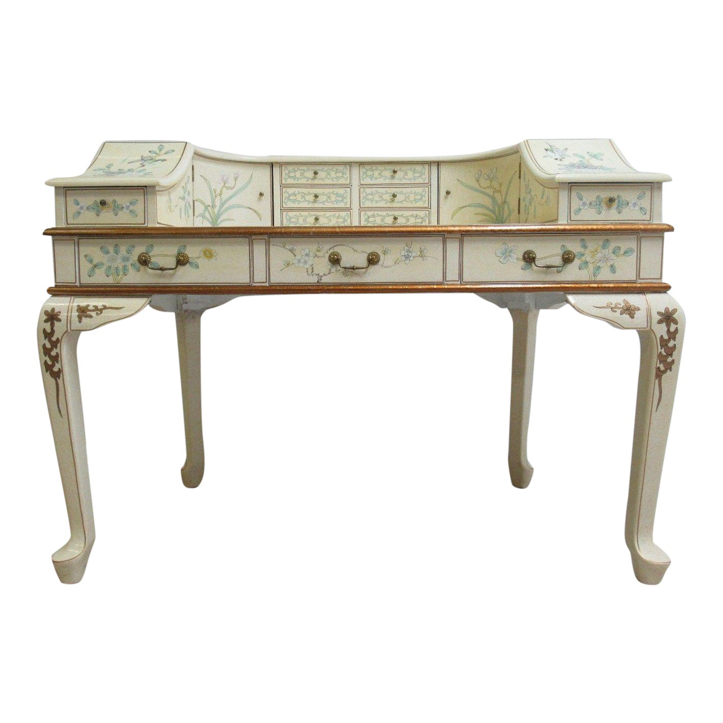 Vintage Chinoiserie White Lacquered Demi Lune Ladies Writing Desk -