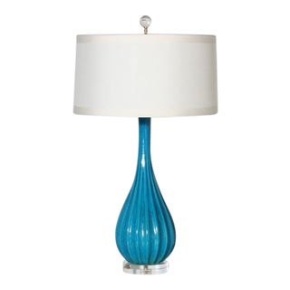 Turquoise Crackle Glazed Lamp, C. 1960 For Sale
